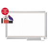 All Purpose Porcelain Dry Erase Planning Board, 1 X 1 Grid, 72 X 48, Silver