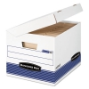 Systematic Medium-duty Storage Boxes, Letter/legal, White/blue, 12/ct