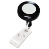 Retractable Name Badge Reel W/clip, 3 Ft Extension, Black, 25/box
