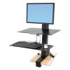 Workfit-s Sit-stand Workstation W/worksurface, Lcd Hd Monitor, Aluminum/black