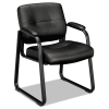 Vl690 Series Guest Leather Chair, Black Leather