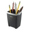 Office Suites Divided Pencil Cup, Plastic, 3 1/16 X 3 1/16 X 4 1/4, Black/silver