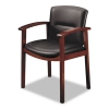 5000 Series Park Avenue Collection Guest Chair, Black Leather/mahogany Finish