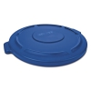 "Round Flat Top Lid, For 44-gal Round Brute Containers, 24 1/4"", Dia., Blue, 4/ct"