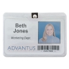 Id Badge Holder W/clip, Horizontal, 4w X 3h, Clear, 50/pack
