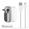 Swivel Charger, 2.1 Amp Port, Detachable Lightning Cable, White
