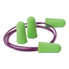 Pura-fit Single-use Earplugs, Corded, 33nrr, Bright Green, 100 Pairs