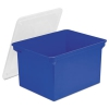 Plastic File Tote Storage Box, Letter/legal, Snap-on Lid, Blue/clear