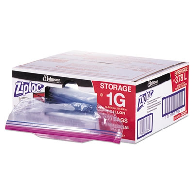Double Zipper Bags, Plastic, 1gal, 1.75mil, Clear W/write-on Panel, 250/box