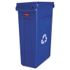 Rubbermaid Commercial Fg354007blue Lldpe Slim Jim 23-gallon Recycling Container With Venting Channels Blue
