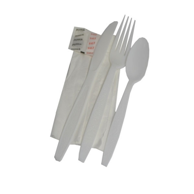 Wrapped Cutlery Kit With White Fork, Spoon, Knife, Napkin, Salt, And Pepper  250/cs