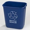 "Carlisle 342928rec14 Polypropylene Recycle Office Waste Basket 28.13qt Capacity 14-1/2"" Length X 10-1/2"" Width X 15"" Height Blue"