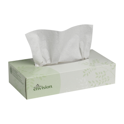 Envision® White Facial Tissue, Flat Box