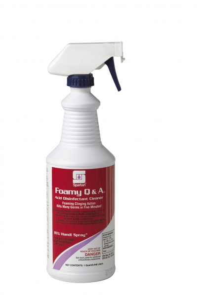 Foamy Q & A Acid Shower Disinfectant Cleaner 32 Ounce 12/cs Includes Gloves & 3 Foam Trigger Sprayers Ph Less Than 2