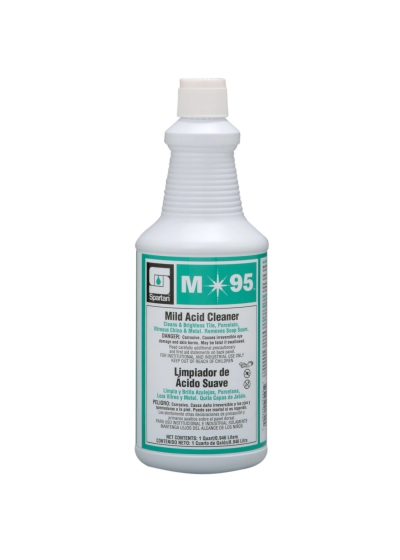 M95 Industrial Cleaner Mild Acid 32 Ounce Ready To Use 12/cs Includes Glove  cleaner For Tile Porcelain China & Metal Ph Less Than 1