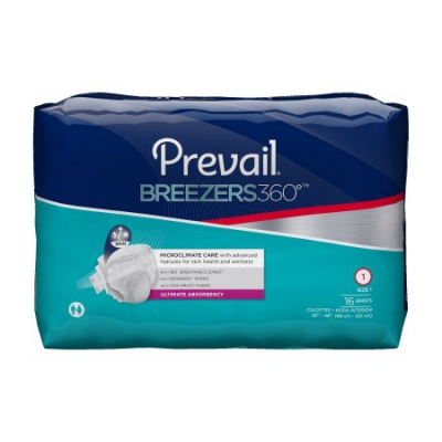 Prevail Breezers360 Ultrimate Absorbency,  18 Per Pack, 6 Packs Per Case