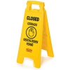 "Rubbermaid Commercial Fg611278yel Floor Safety Sign, Multi-lingual ""closed"" Imprint, 2-sided, Yellow"
