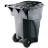 Rubbermaid Commercial Fg9w2200gray Polyethylene 95-gallon Brute Rollout Garbage Can, Gray