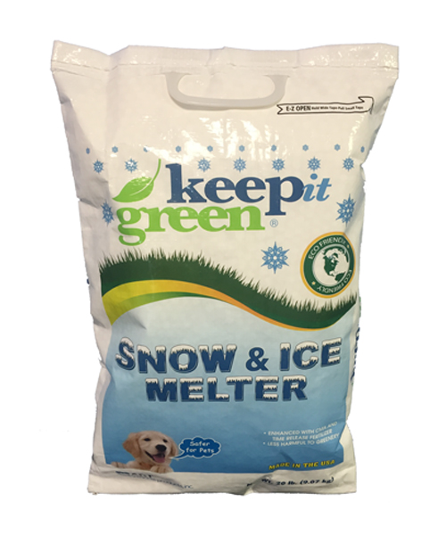 DSP KIG50 KEEP IT GREEN ICE MELT BLEND 50 POUND BAG WITH CMA 56/SKID ECO SMART GREEN TINTED MELTS 0 TO -18C CONTAINS A BLEND OF POTASSIUM AND SODIUM CHLORIDES