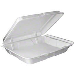 Dart® Foam Hinged Lid Cont. - Large, 1 Cmpt., White